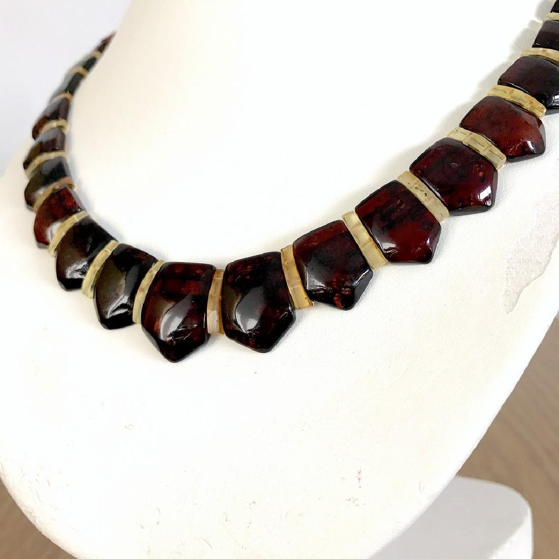 Wide collar Baltic amber necklace cherry&lemon 21mm - 2