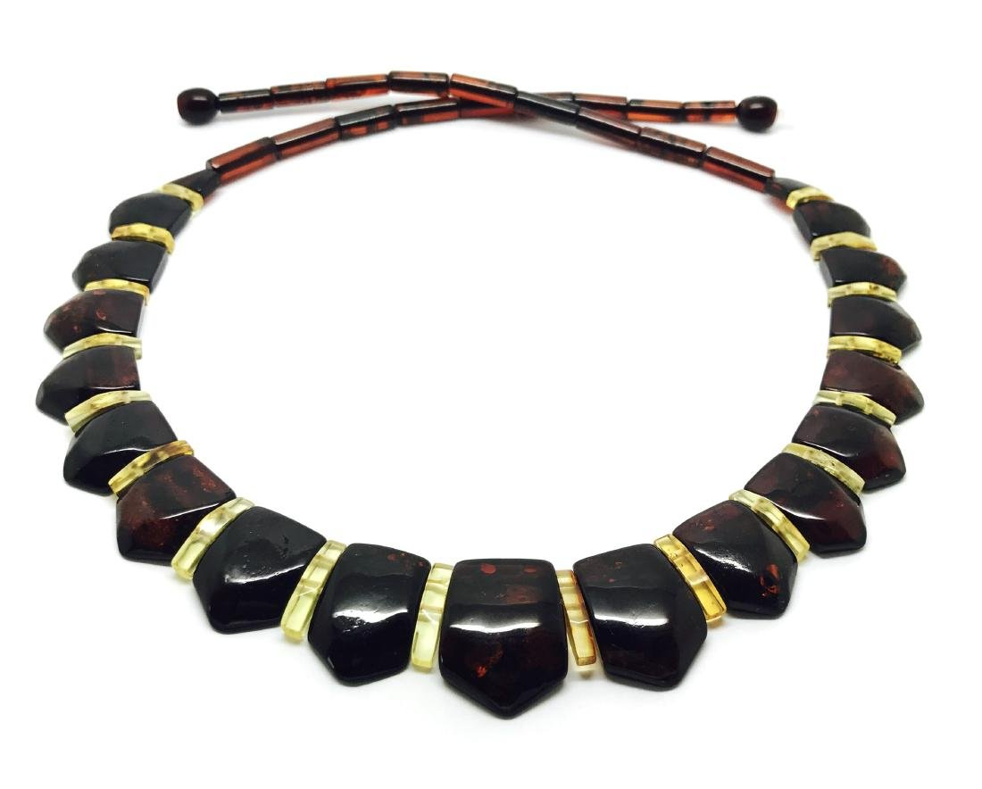 Wide collar Baltic amber necklace cherry&lemon 21mm - 3