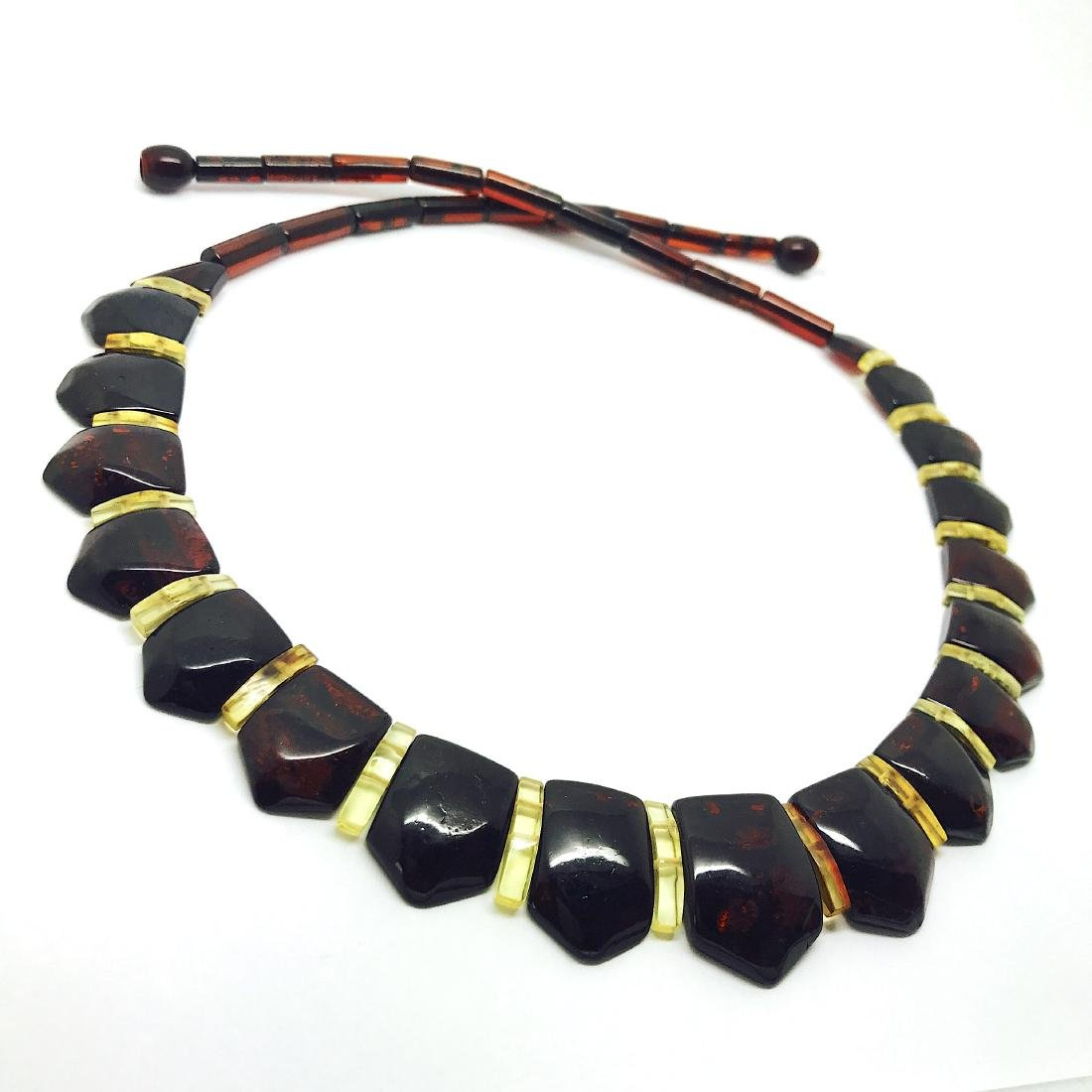 Wide collar Baltic amber necklace cherry&lemon 21mm - 4