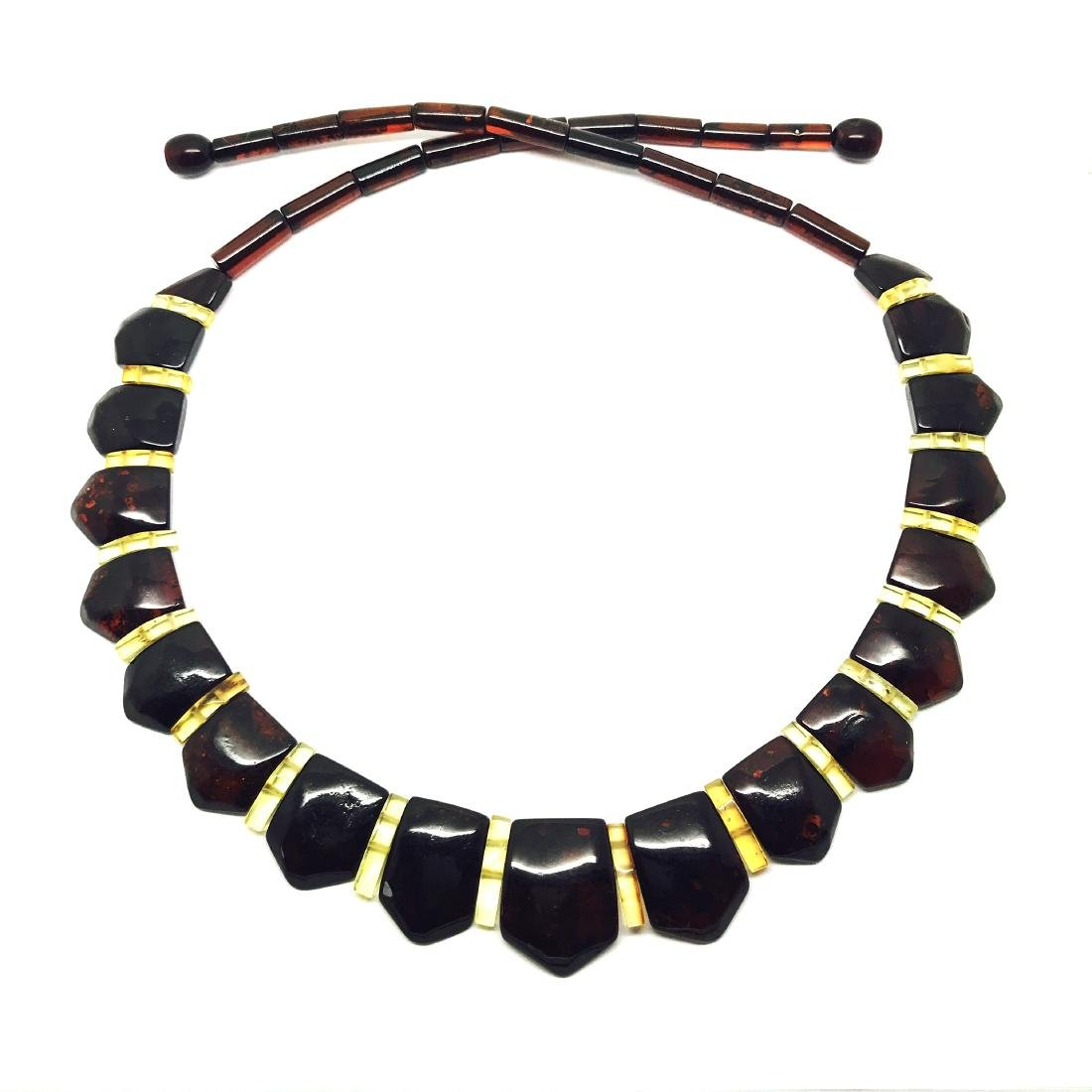Wide collar Baltic amber necklace cherry&lemon 21mm - 5