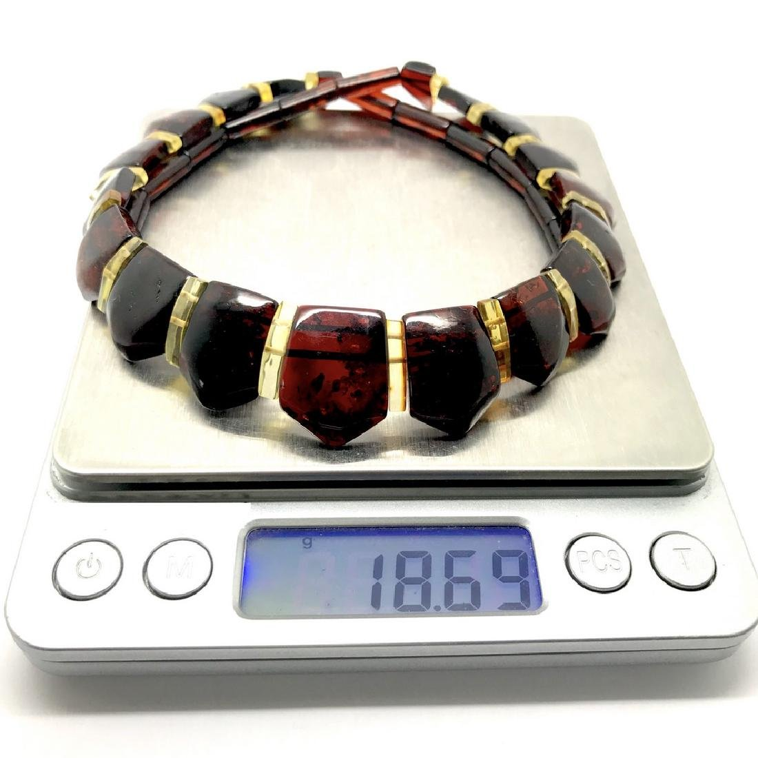 Wide collar Baltic amber necklace cherry&lemon 21mm - 8