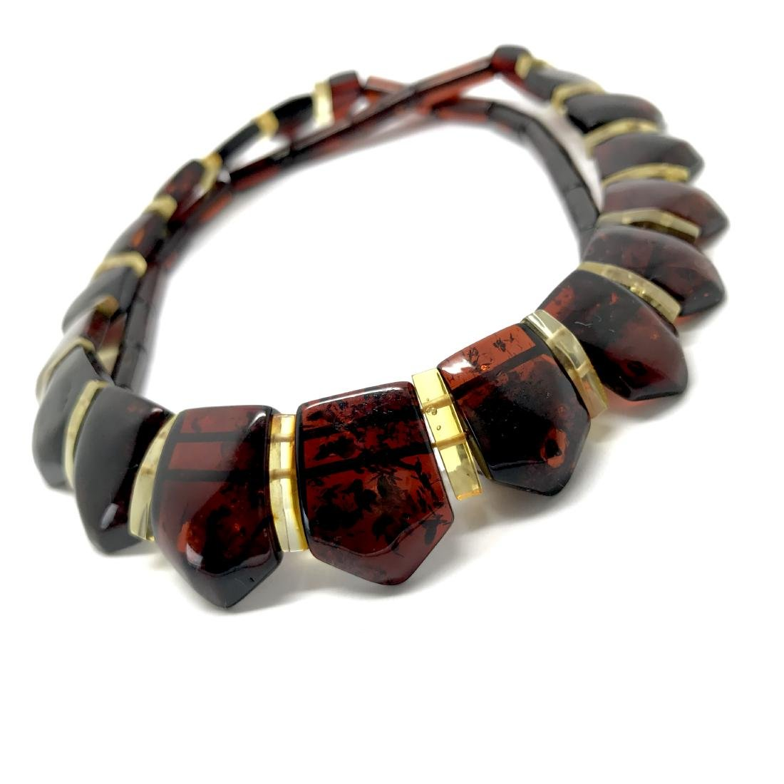 Wide collar Baltic amber necklace cherry&lemon 21mm - 9