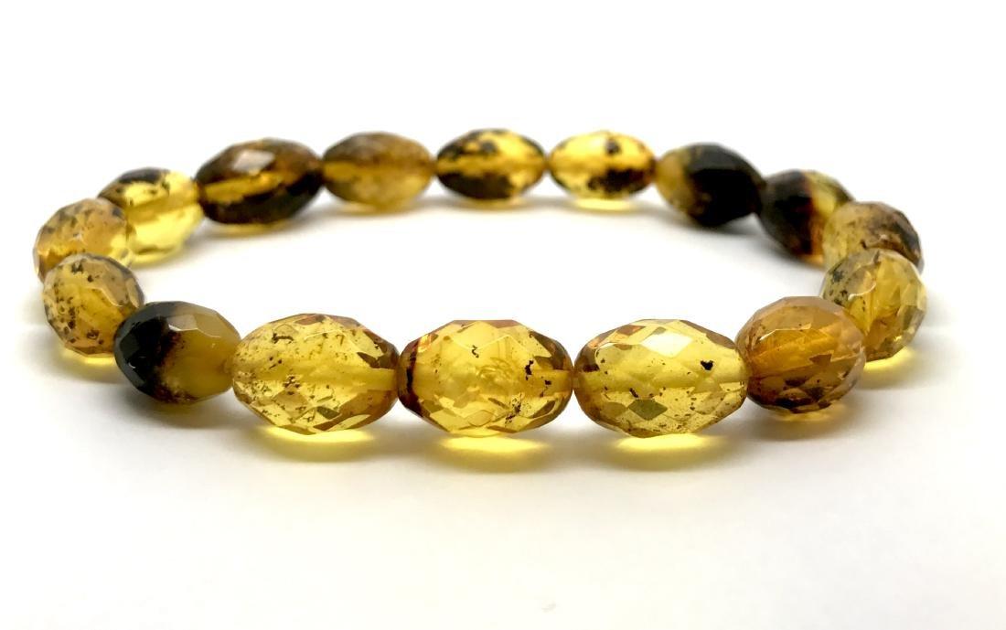 Unique bracelet faceted Baltic amber beads olives honey