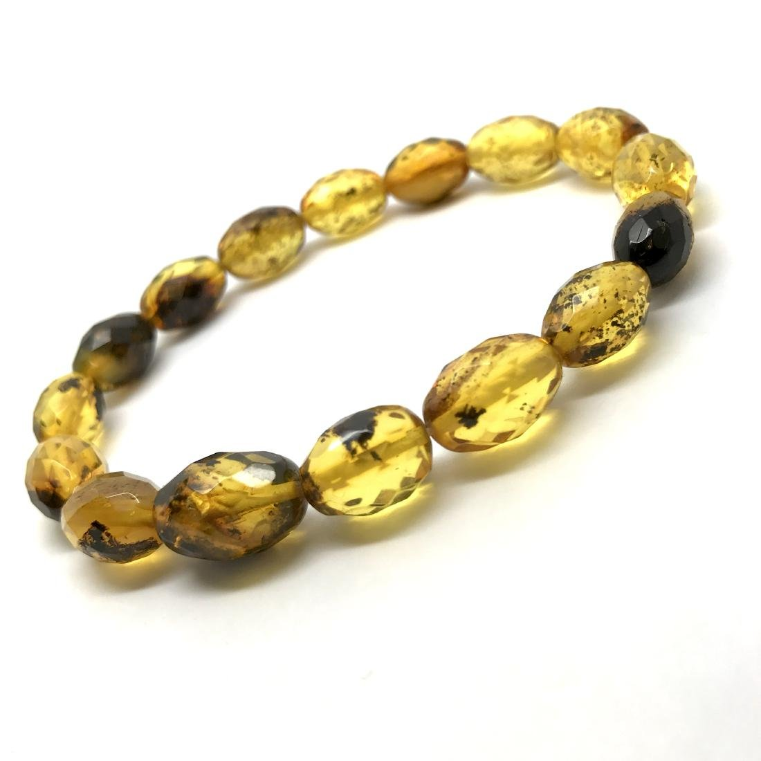 Unique bracelet faceted Baltic amber beads olives honey - 2