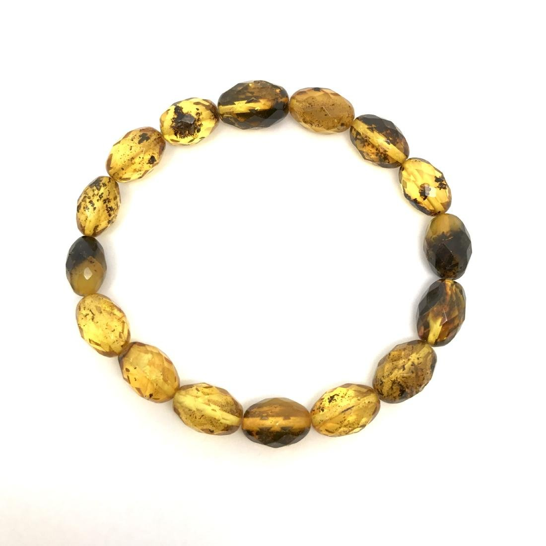 Unique bracelet faceted Baltic amber beads olives honey - 3