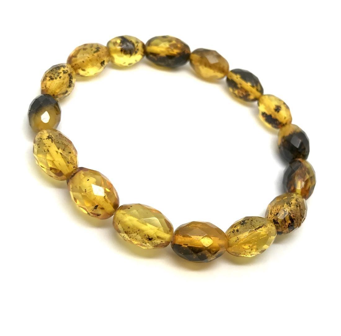 Unique bracelet faceted Baltic amber beads olives honey - 4