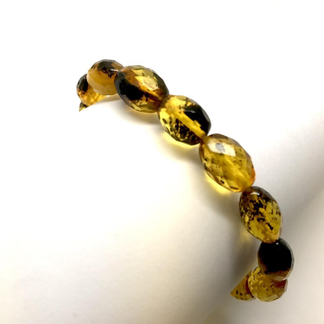 Unique bracelet faceted Baltic amber beads olives honey - 6