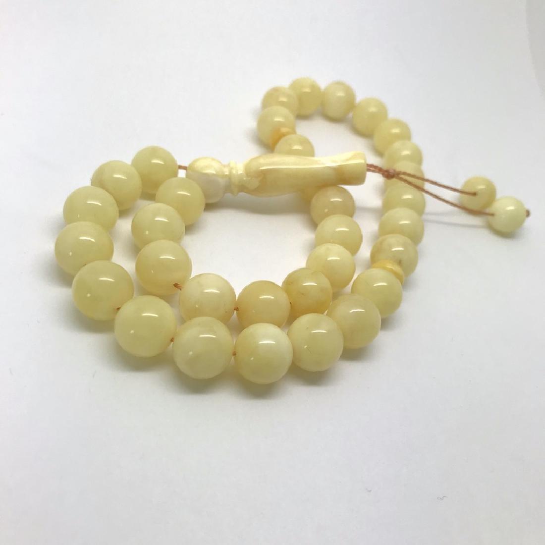 Misbaha tesbih Baltic amber white 33 beads ø10mm 22.7 - 3