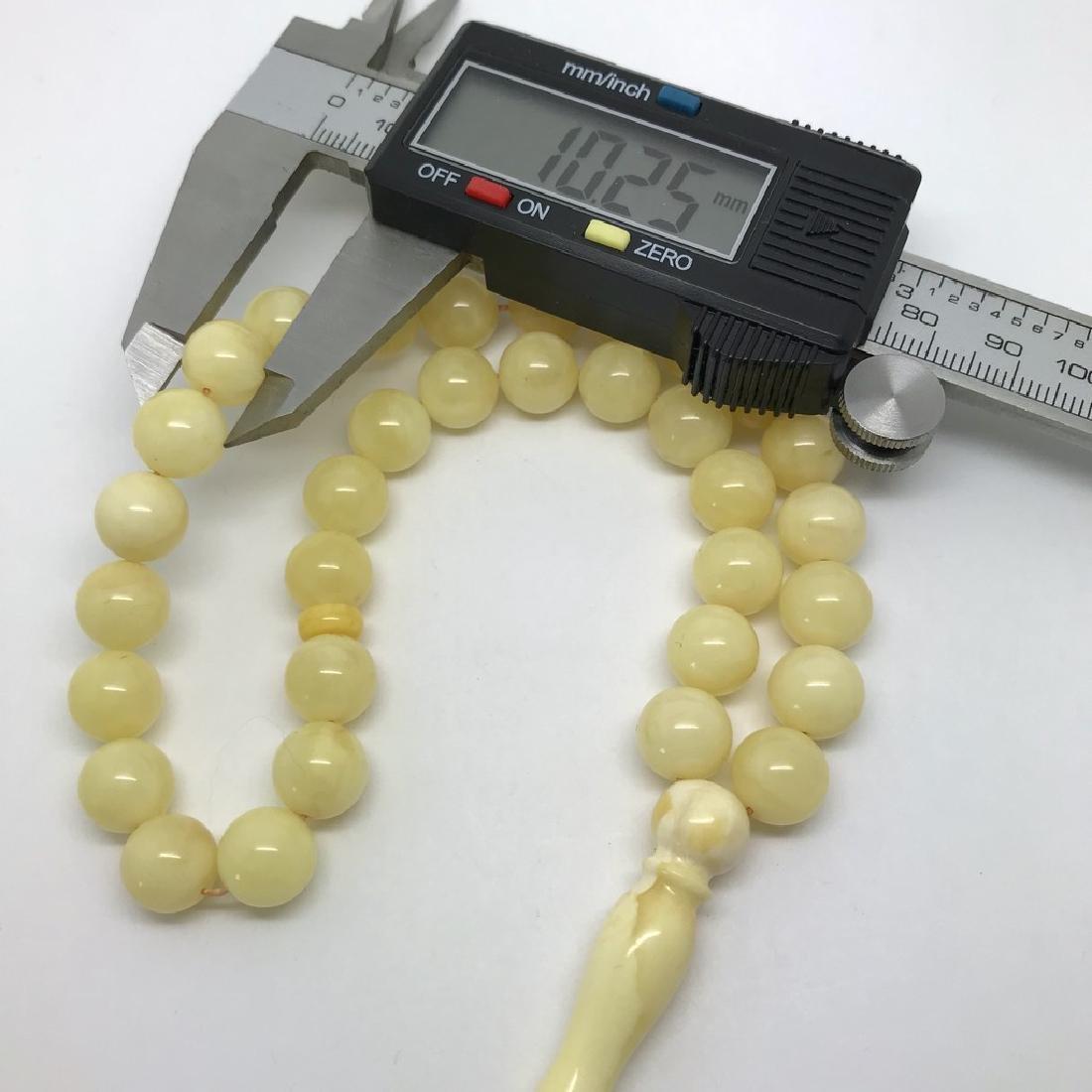 Misbaha tesbih Baltic amber white 33 beads ø10mm 22.7 - 5