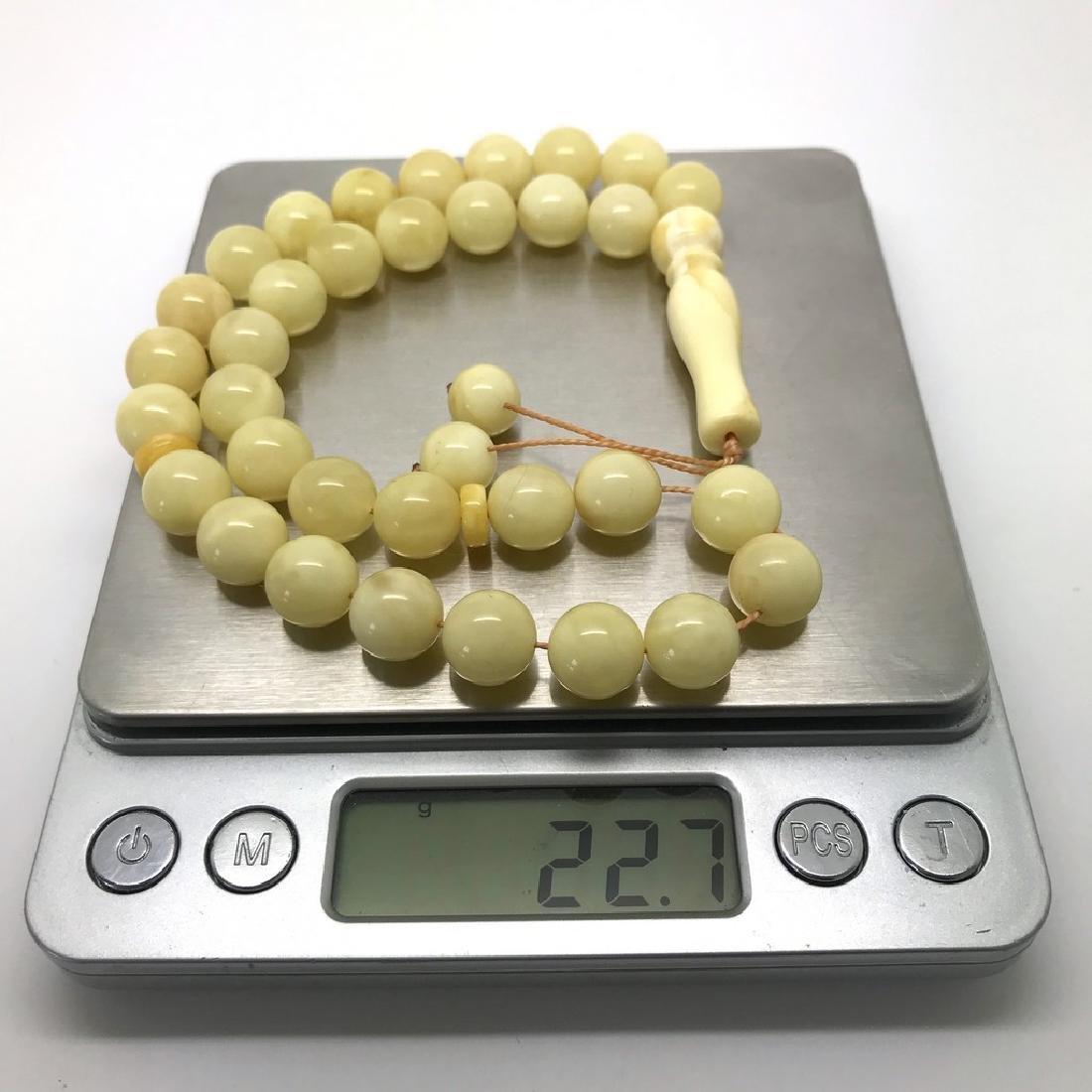 Misbaha tesbih Baltic amber white 33 beads ø10mm 22.7 - 6