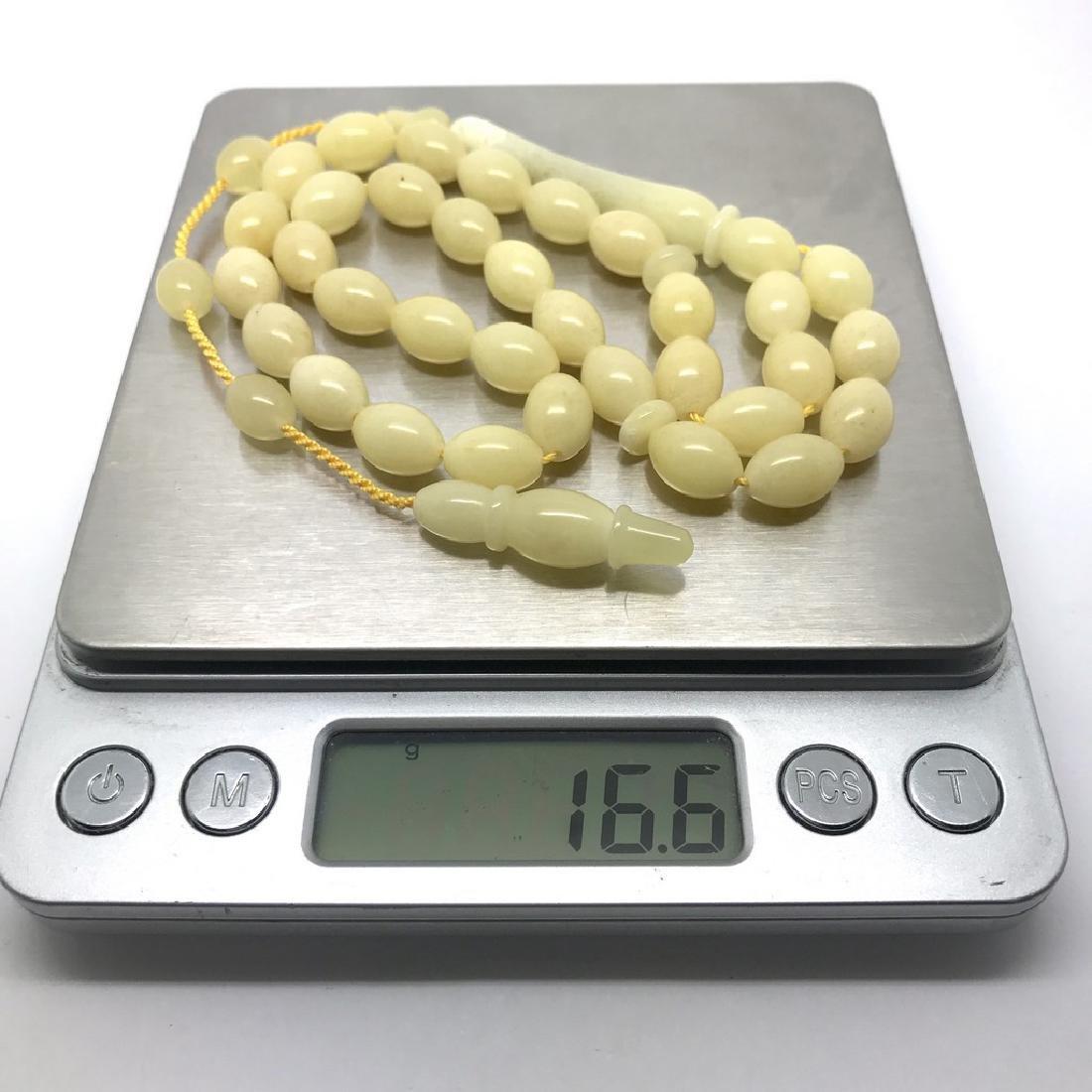 Misbaha tesbih Baltic amber white 33 beads 11x8mm 16.5 - 2