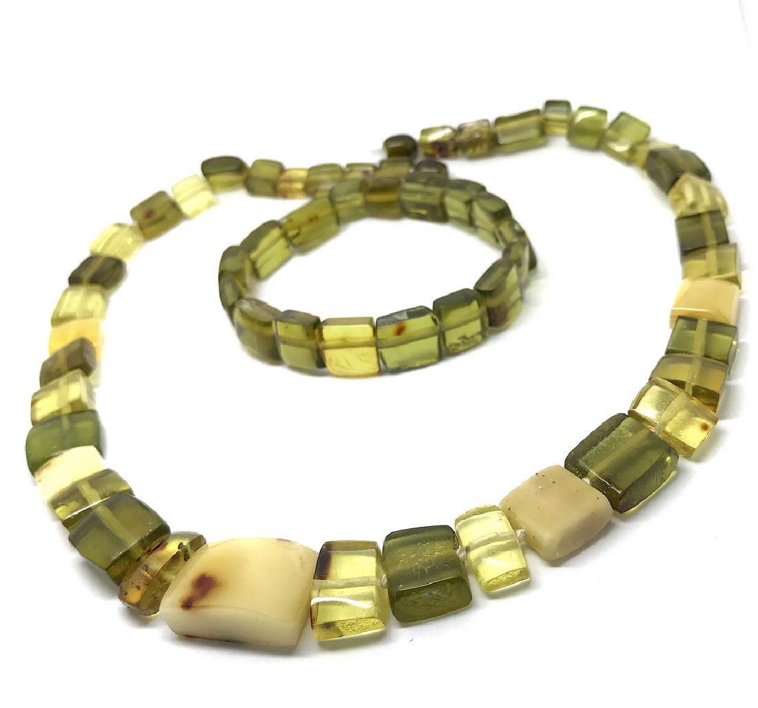 Vintage Necklace & bracelet set green amber with - 2