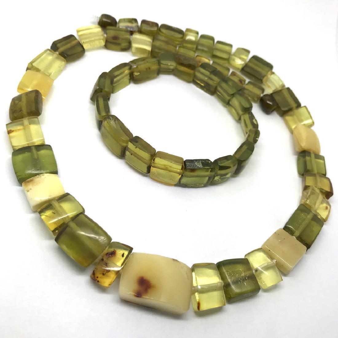 Vintage Necklace & bracelet set green amber with - 3