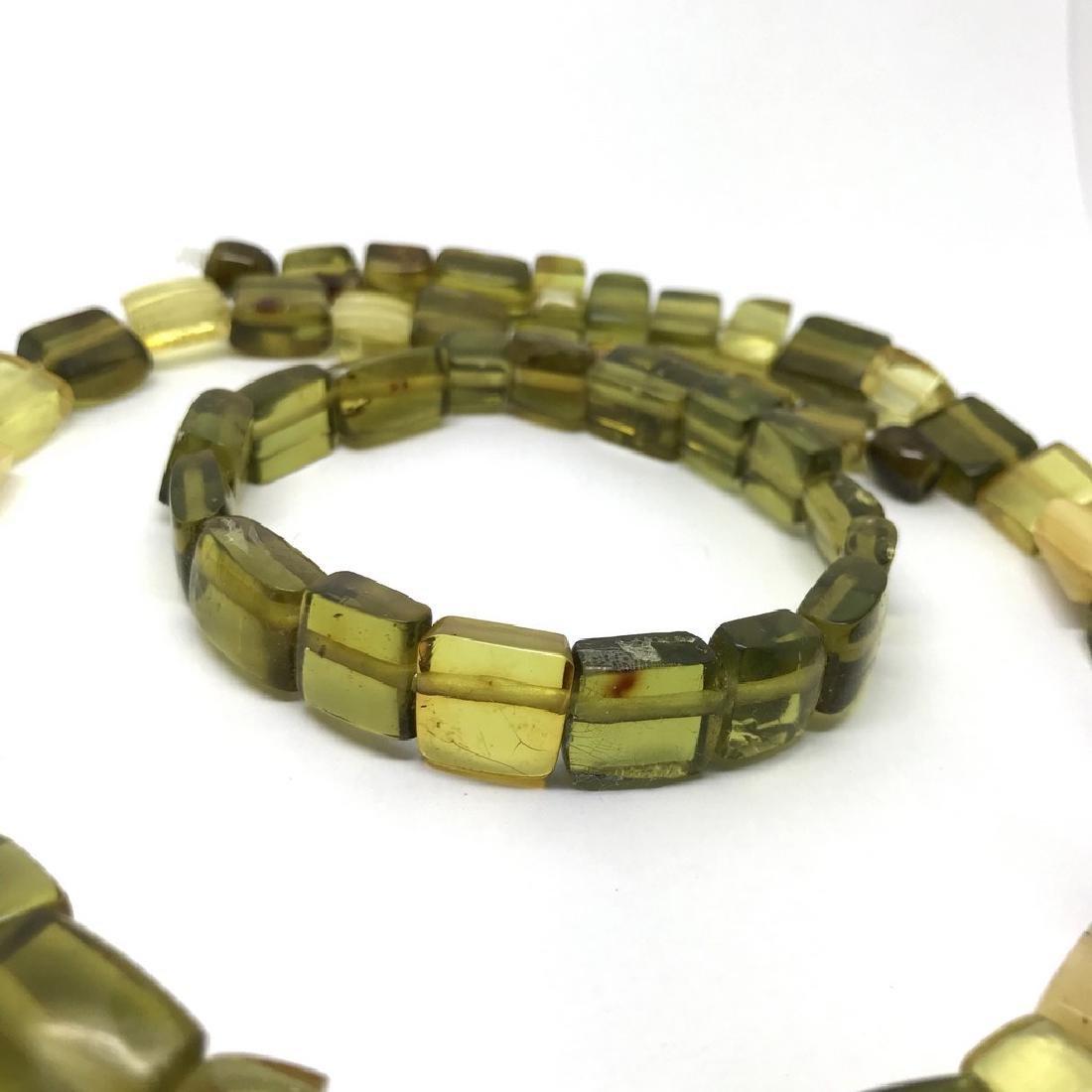 Vintage Necklace & bracelet set green amber with - 4