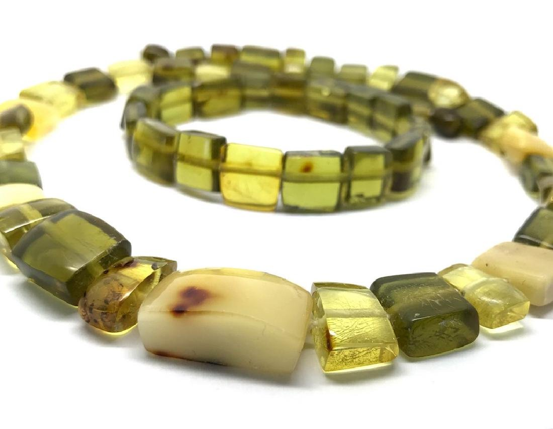 Vintage Necklace & bracelet set green amber with - 5