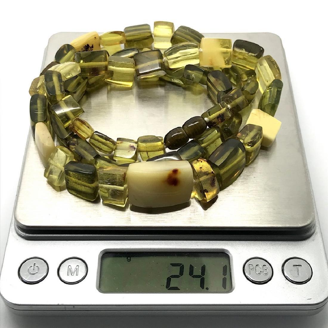 Vintage Necklace & bracelet set green amber with - 7