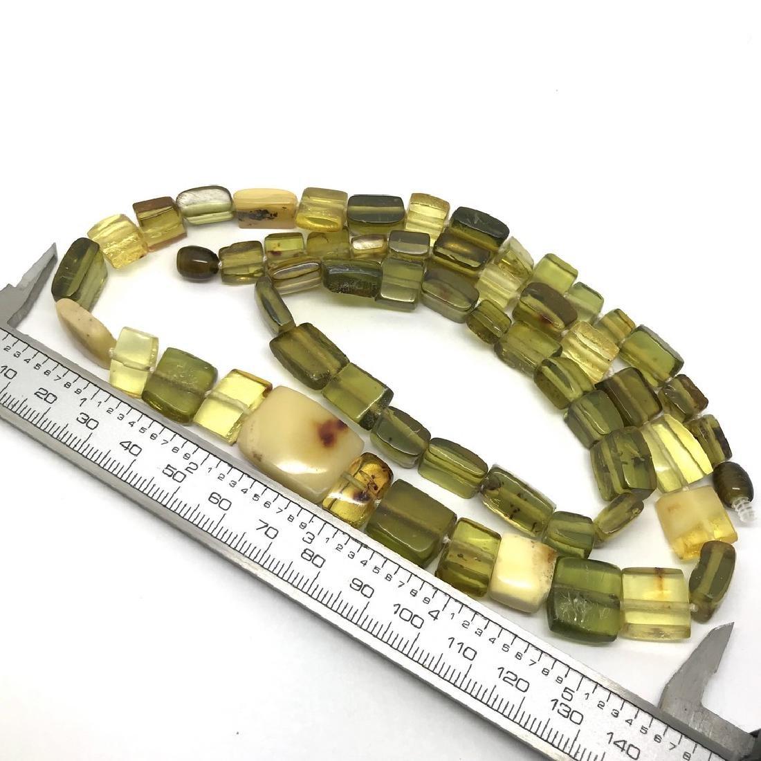 Vintage Necklace & bracelet set green amber with - 8