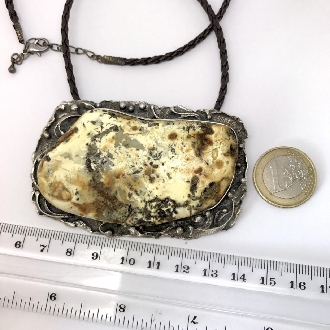 Extraordinary old handmade pendant white Baltic amber - 6