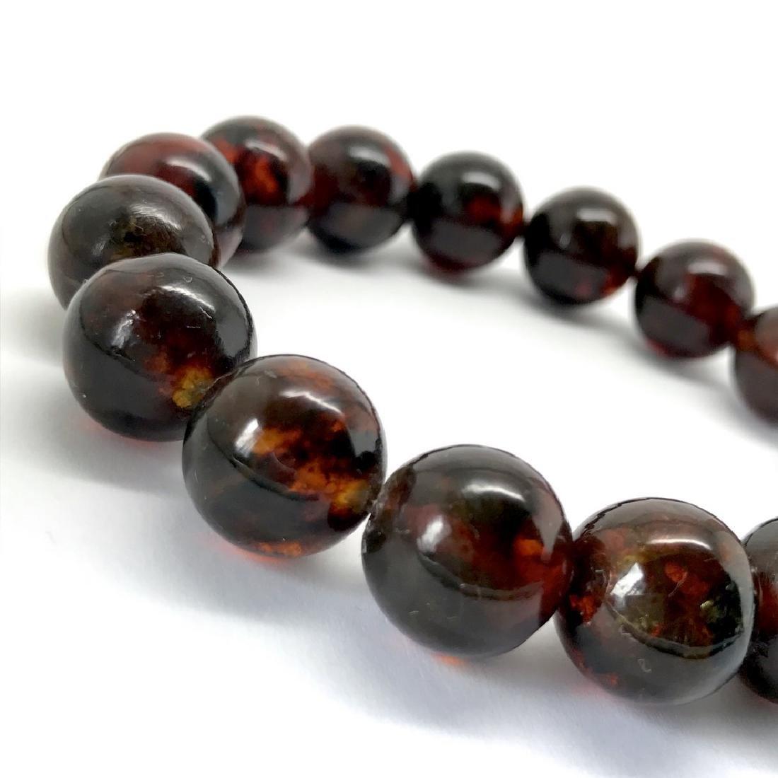 Baltic Amber Bracelet Dark Cognac Colour Beads - 2