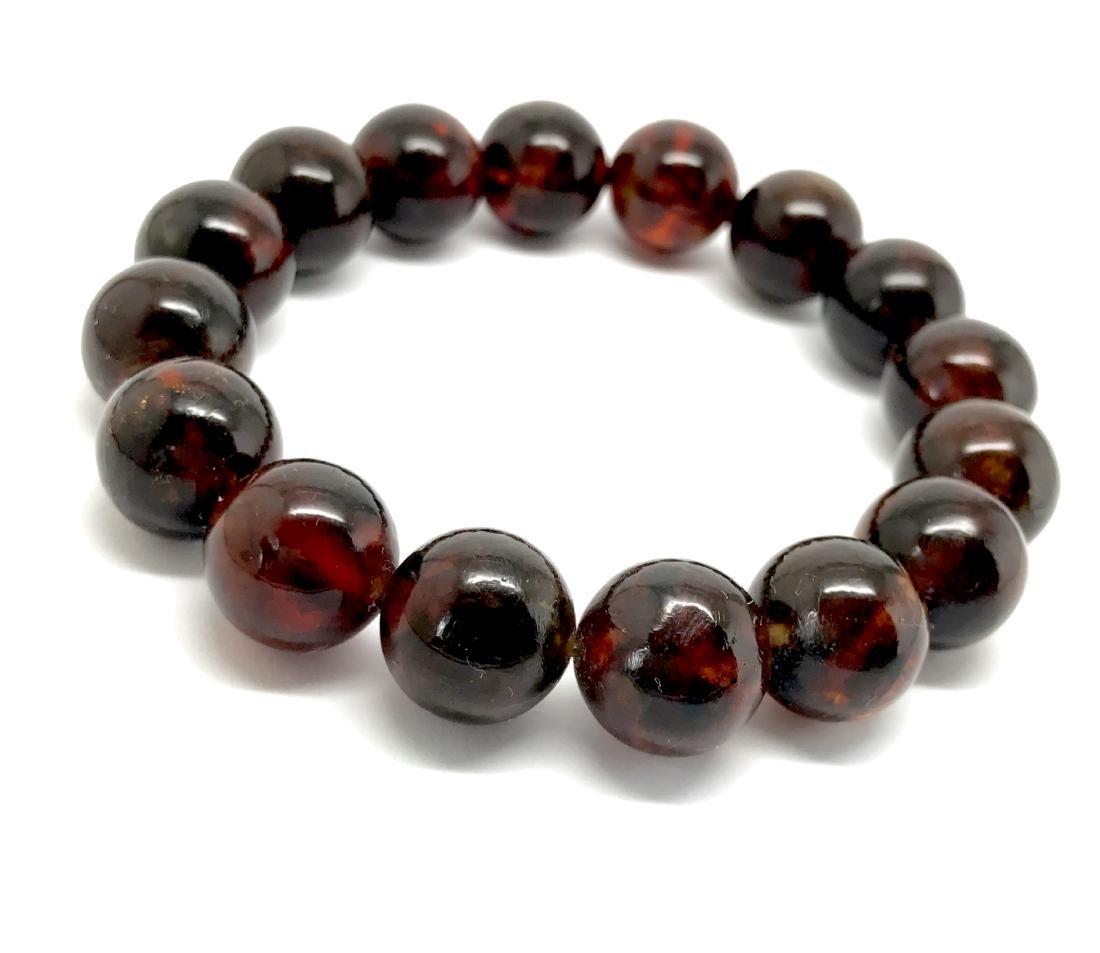 Baltic Amber Bracelet Dark Cognac Colour Beads - 3
