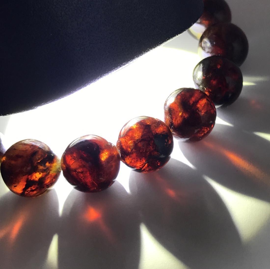 Baltic Amber Bracelet Dark Cognac Colour Beads - 5