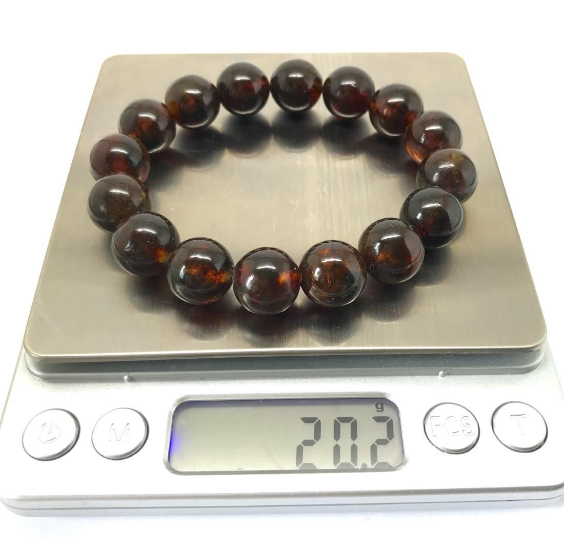 Baltic Amber Bracelet Dark Cognac Colour Beads - 6