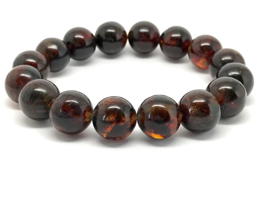 Baltic Amber Bracelet Dark Cognac Colour Beads - 7