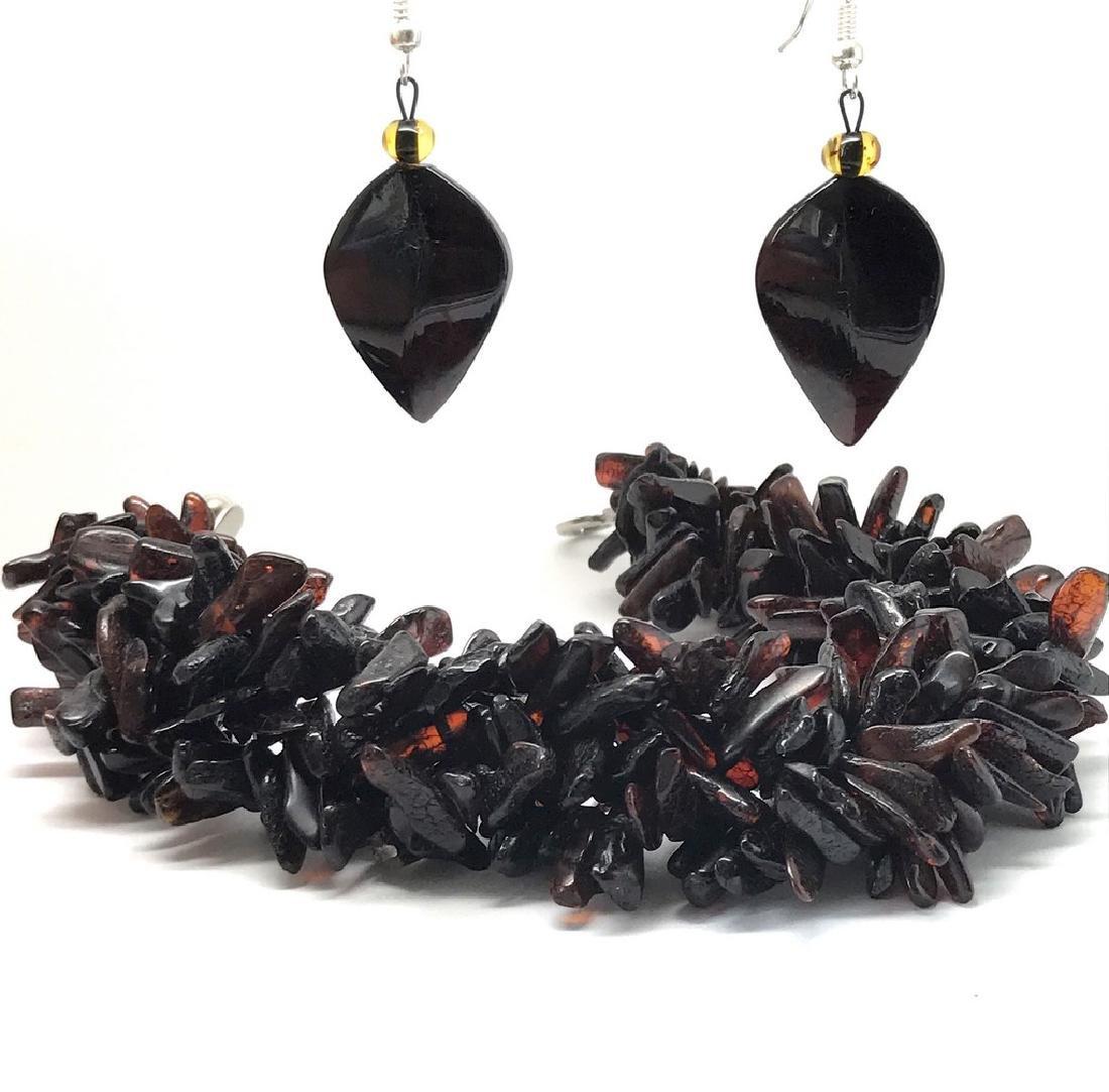 Vintage Baltic amber cherry bracelet & earrings 36.2 - 4