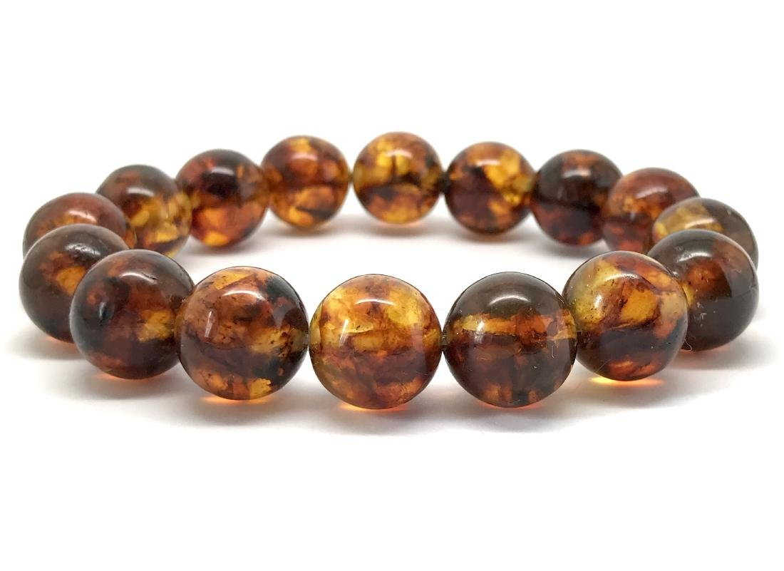 Baltic Amber Bracelet Cognac Marble Colour Beads