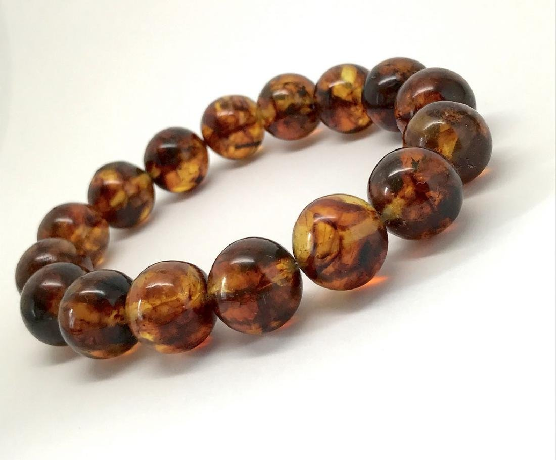 Baltic Amber Bracelet Cognac Marble Colour Beads - 2