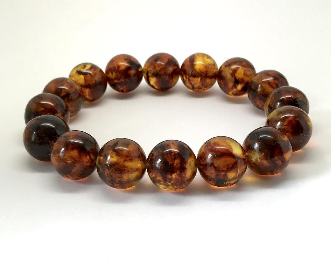 Baltic Amber Bracelet Cognac Marble Colour Beads - 3
