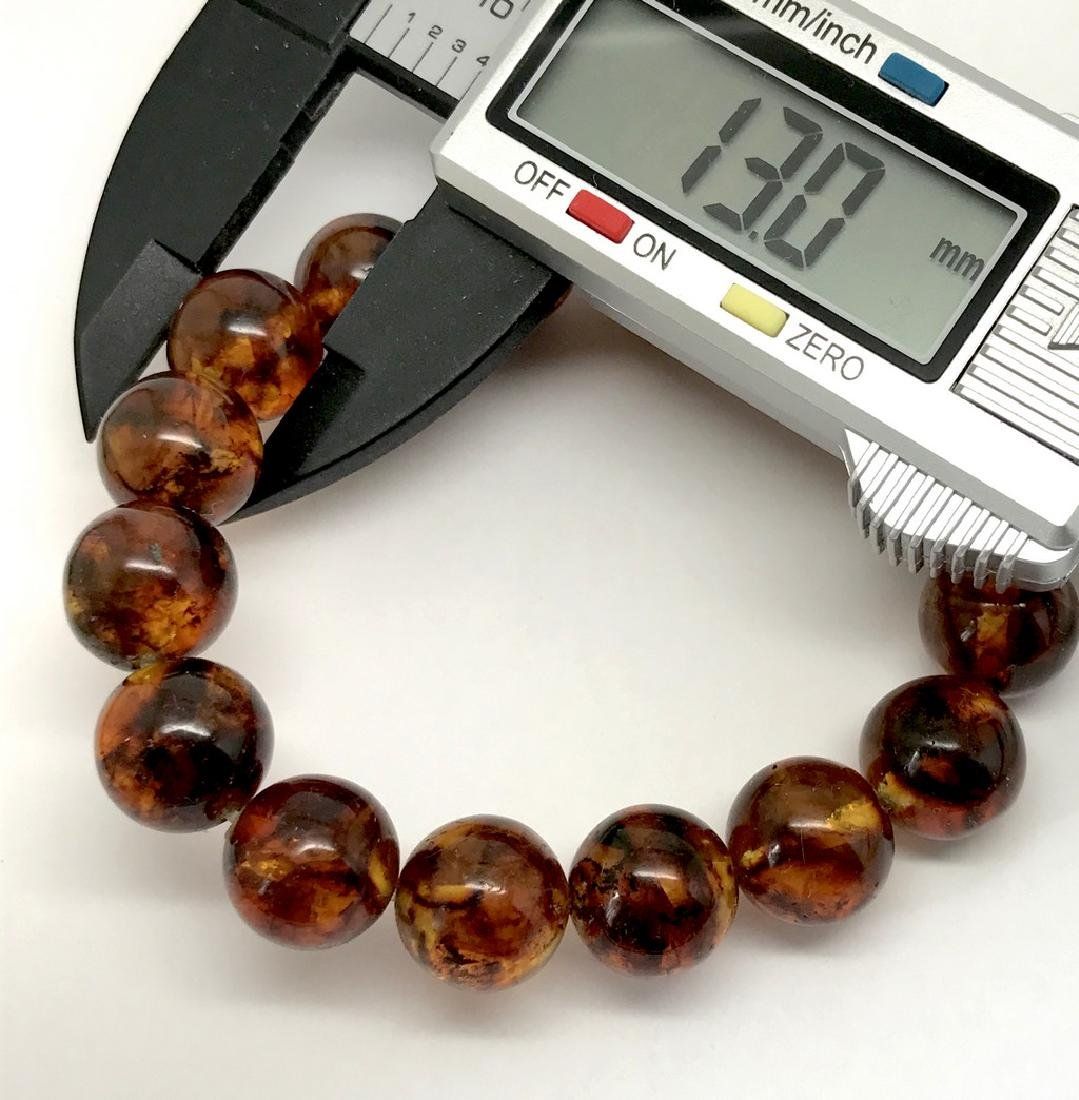 Baltic Amber Bracelet Cognac Marble Colour Beads - 4