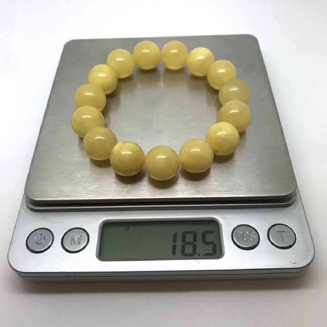 Bracelet Baltic amber butter yellow beads ø13mm  18.5 - 10