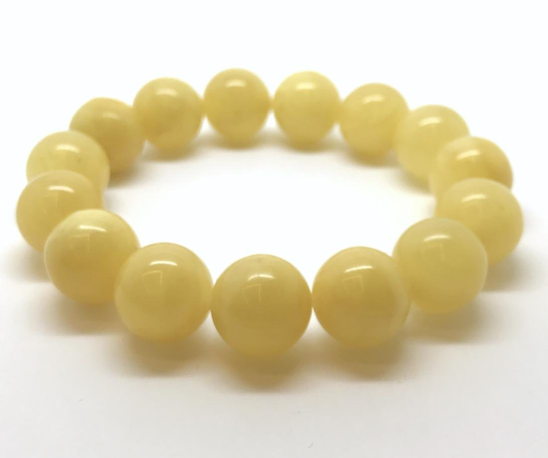 Bracelet Baltic amber butter yellow beads ø13mm  18.5