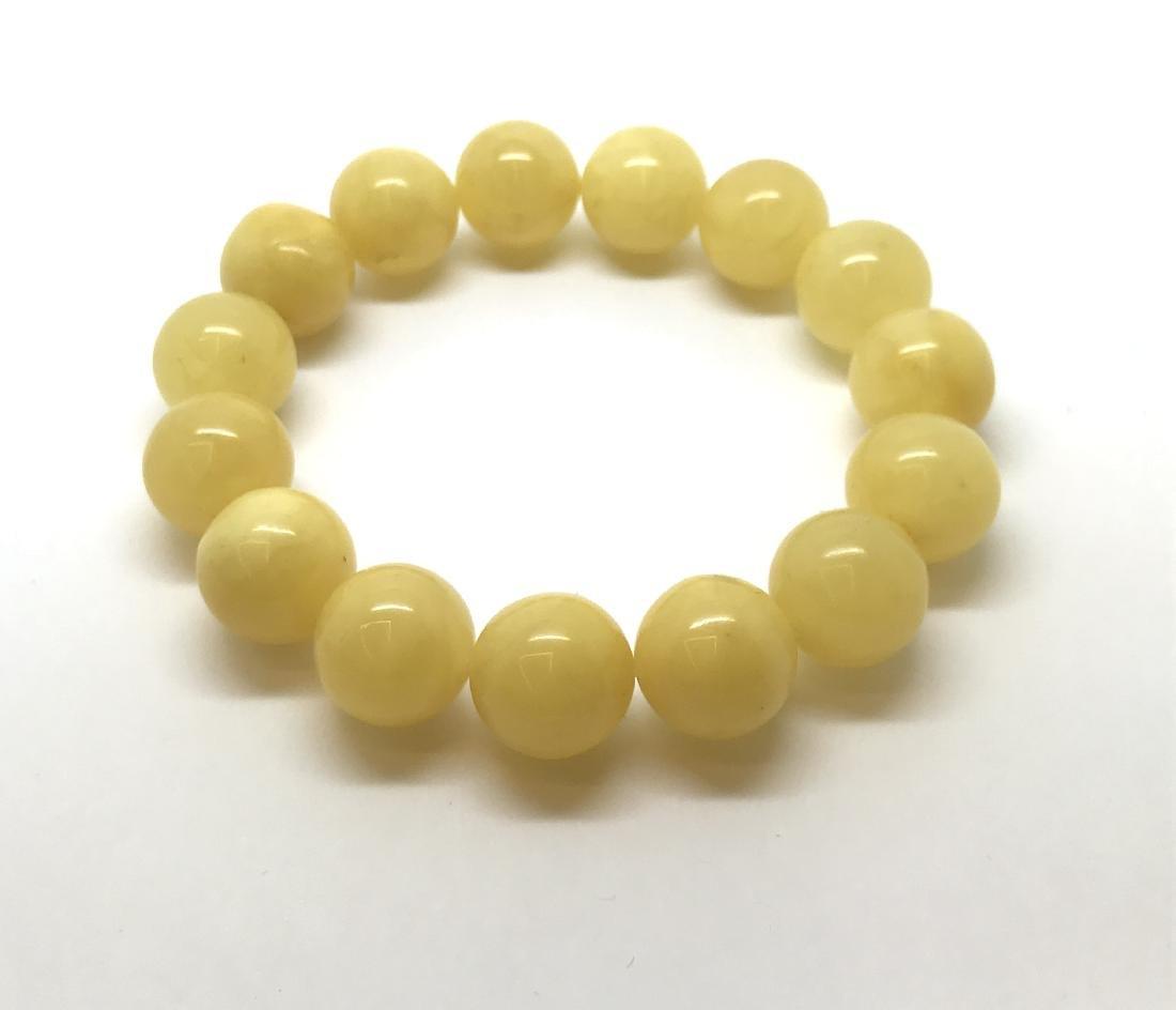 Bracelet Baltic amber butter yellow beads ø13mm  18.5 - 2