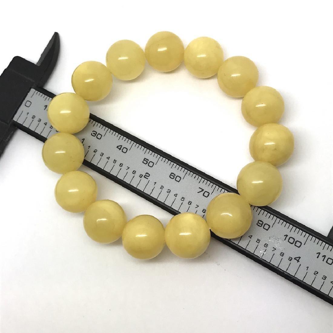 Bracelet Baltic amber butter yellow beads ø13mm  18.5 - 5