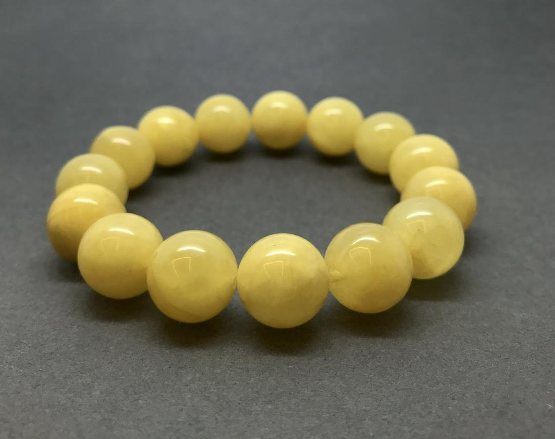 Bracelet Baltic amber butter yellow beads ø13mm  18.5 - 7
