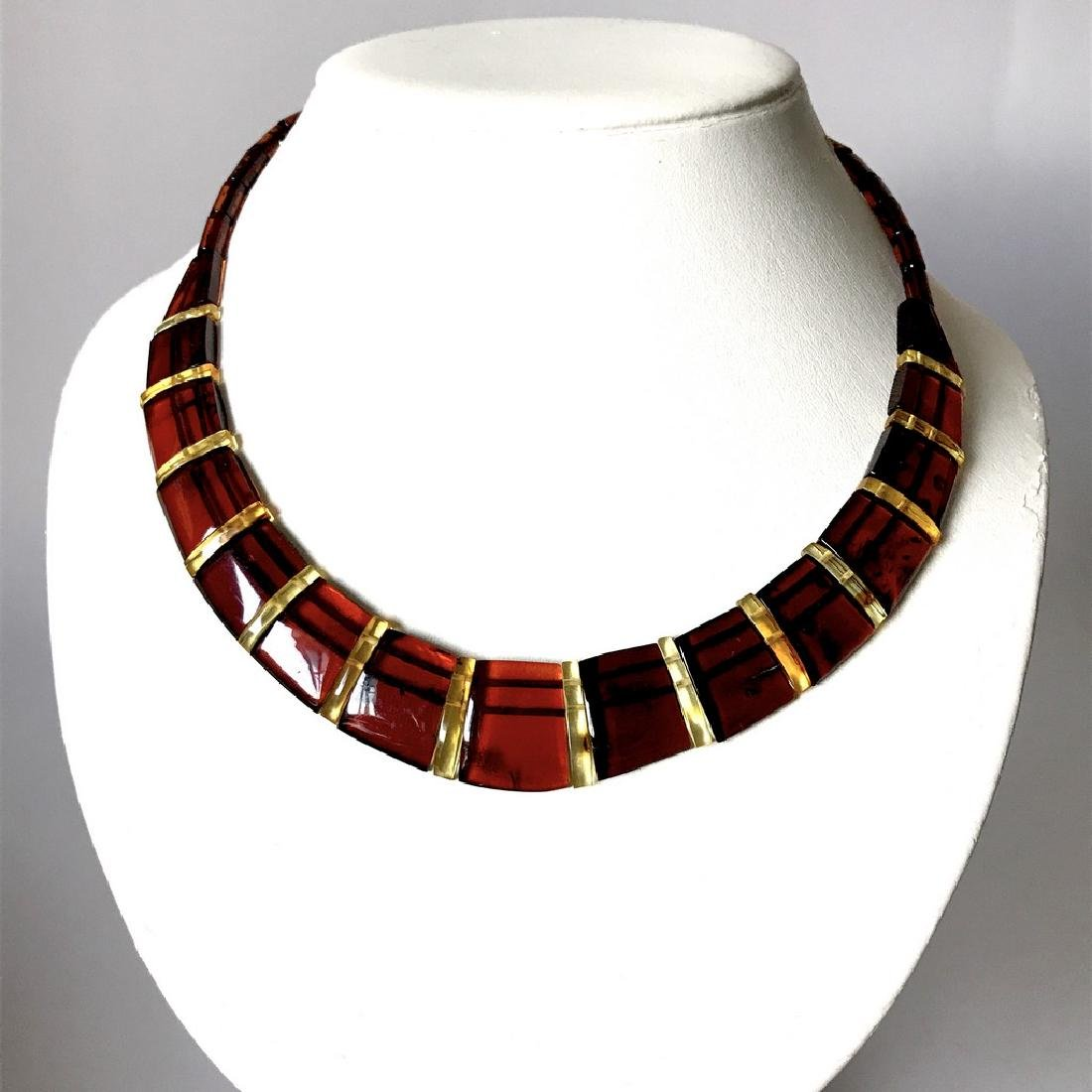 Wide collar Baltic amber cherry&honey necklace 20mm x