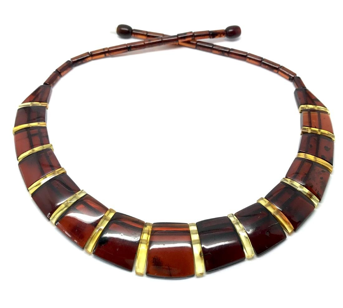 Wide collar Baltic amber cherry&honey necklace 20mm x - 2