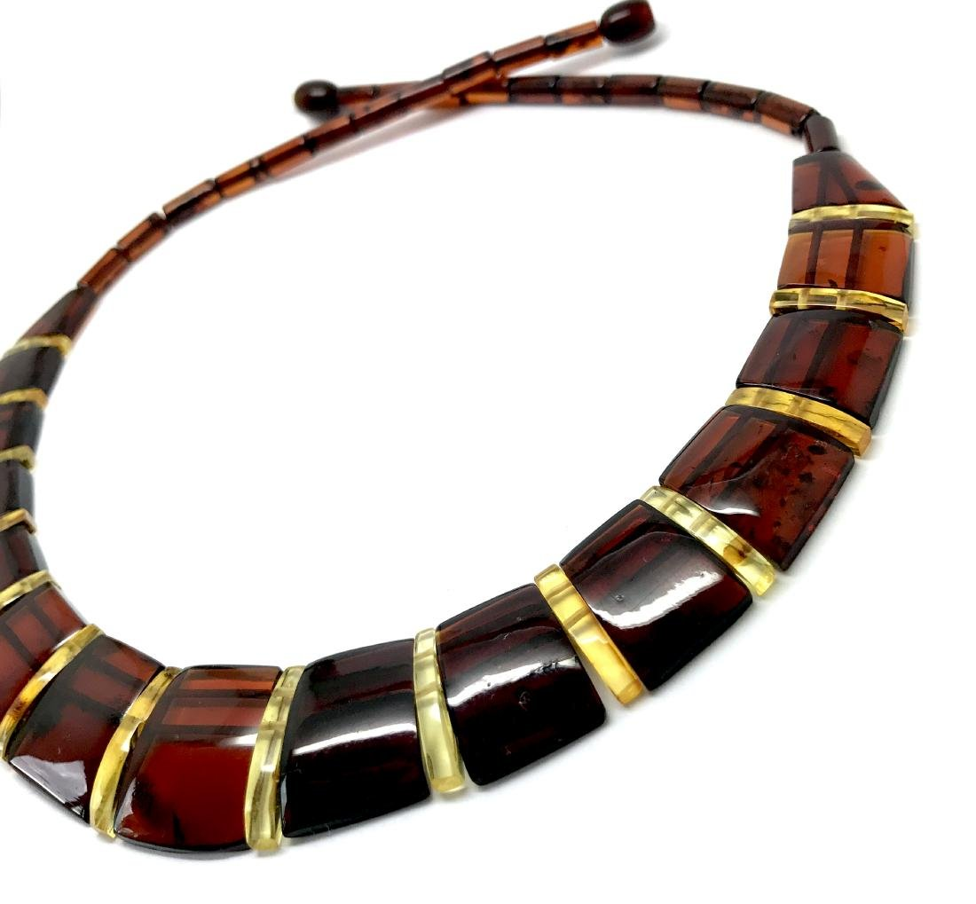 Wide collar Baltic amber cherry&honey necklace 20mm x - 3