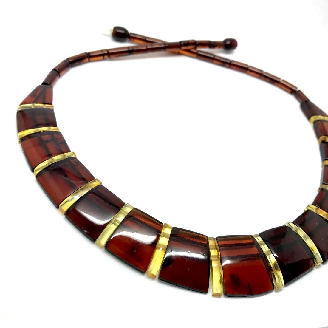 Wide collar Baltic amber cherry&honey necklace 20mm x - 4
