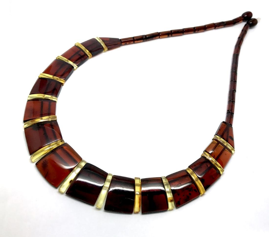 Wide collar Baltic amber cherry&honey necklace 20mm x - 5