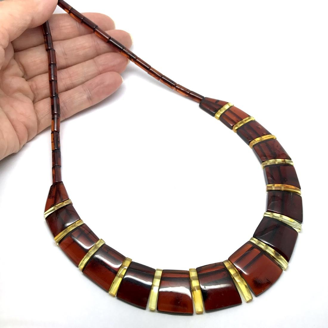 Wide collar Baltic amber cherry&honey necklace 20mm x - 6