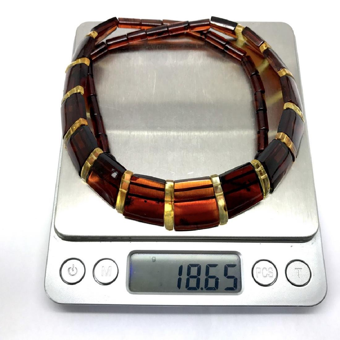 Wide collar Baltic amber cherry&honey necklace 20mm x - 8