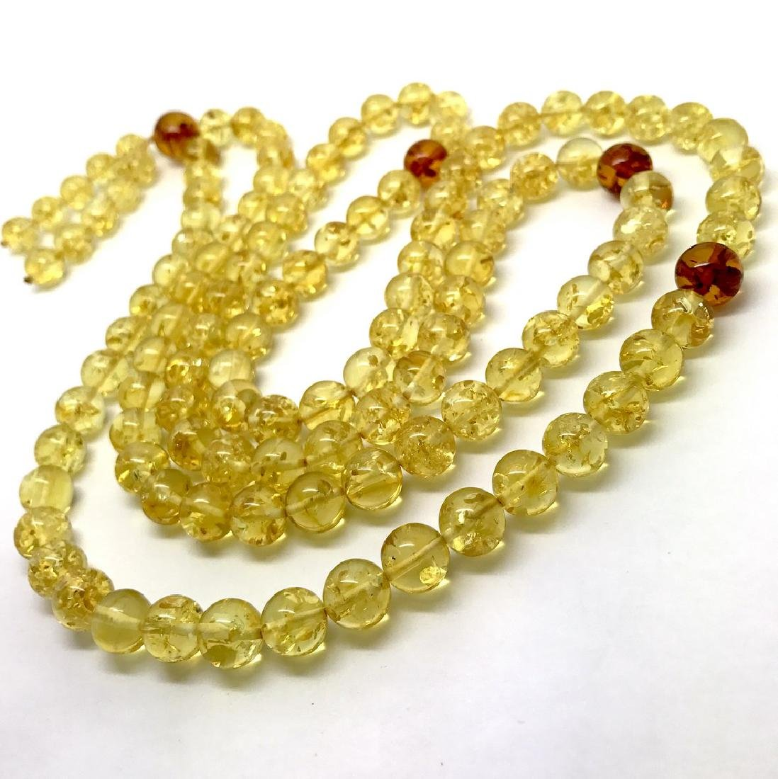 Japa mala luck necklace Baltic amber beads lemon&cognac - 2