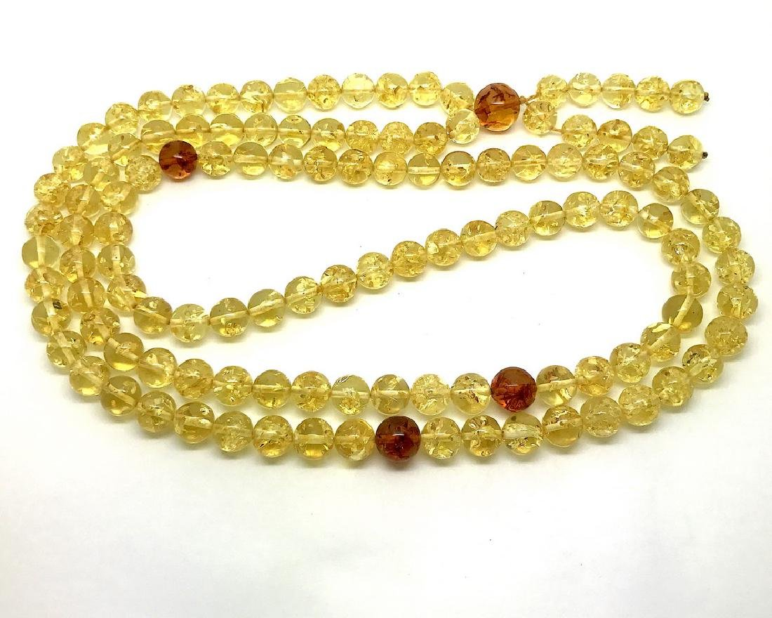 Japa mala luck necklace Baltic amber beads lemon&cognac - 3
