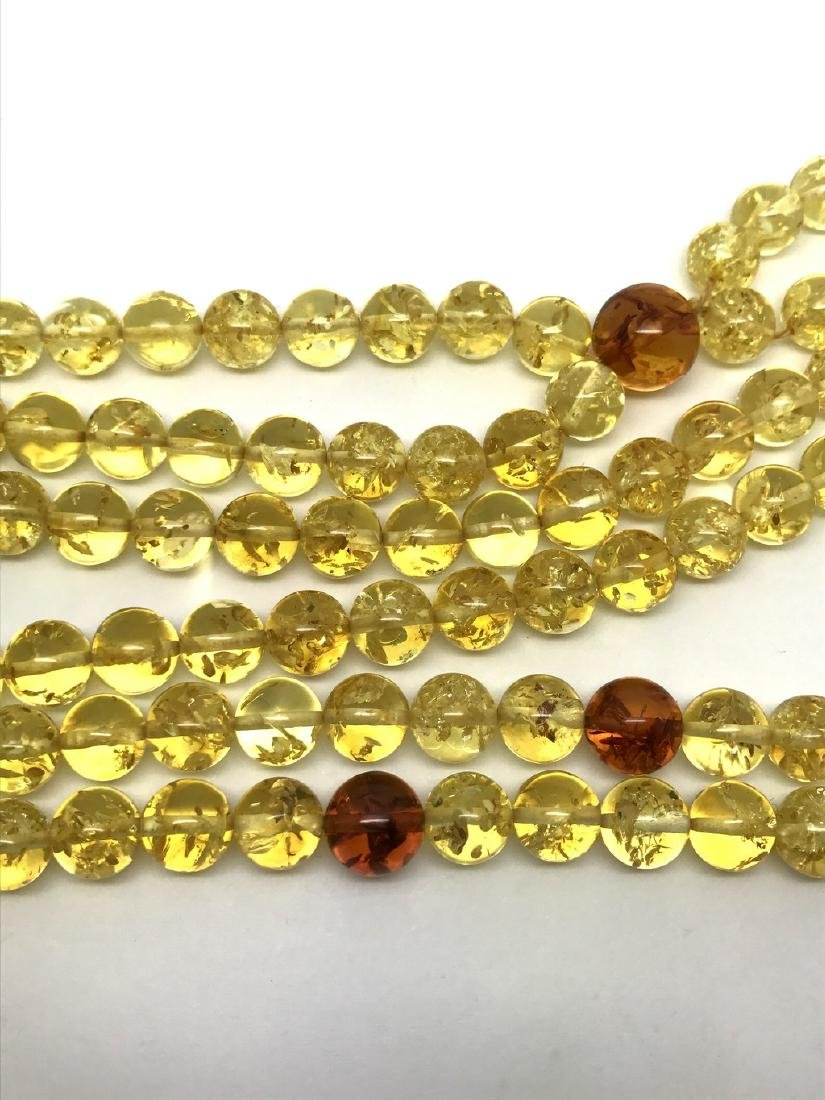 Japa mala luck necklace Baltic amber beads lemon&cognac - 4