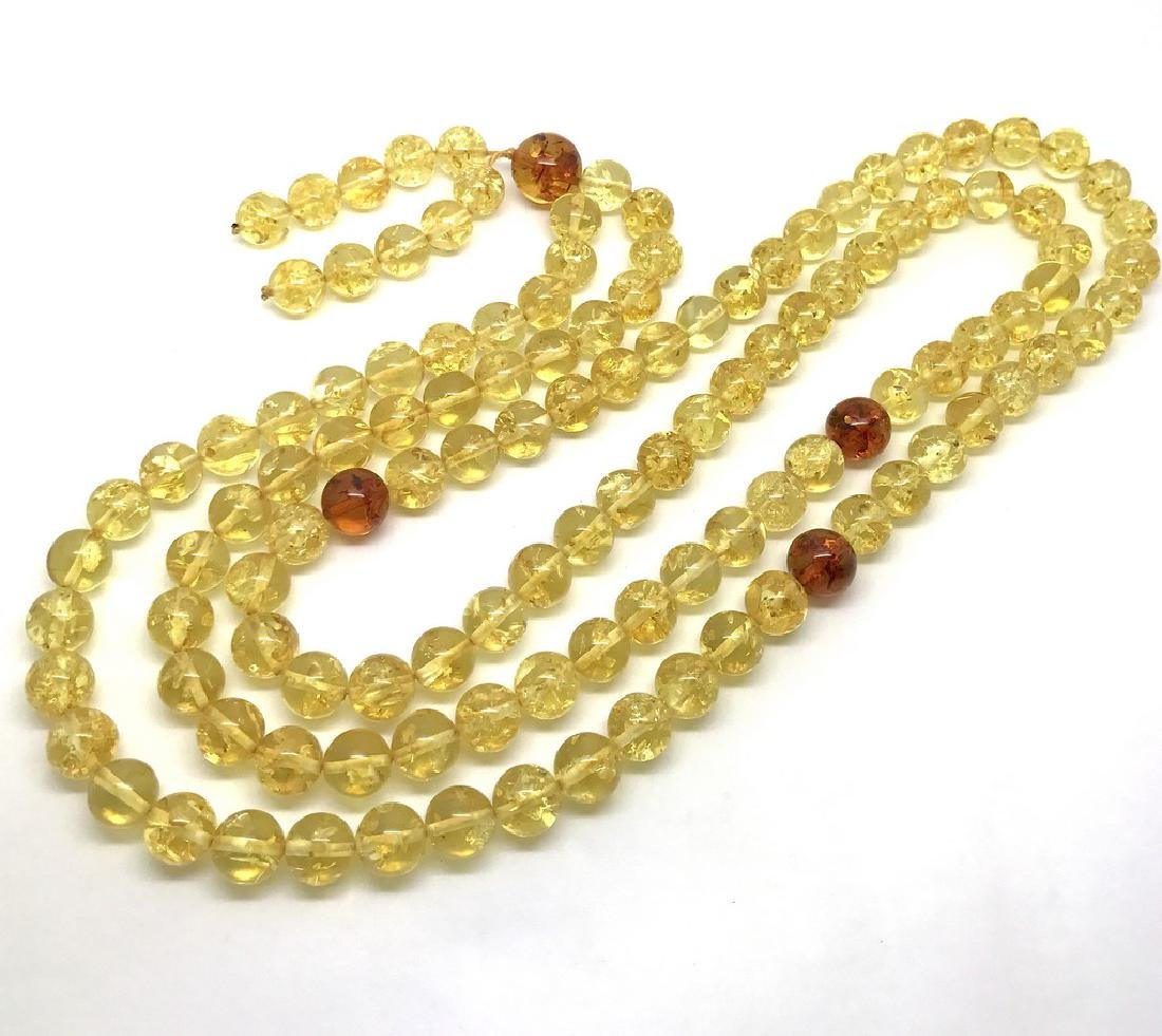 Japa mala luck necklace Baltic amber beads lemon&cognac - 5