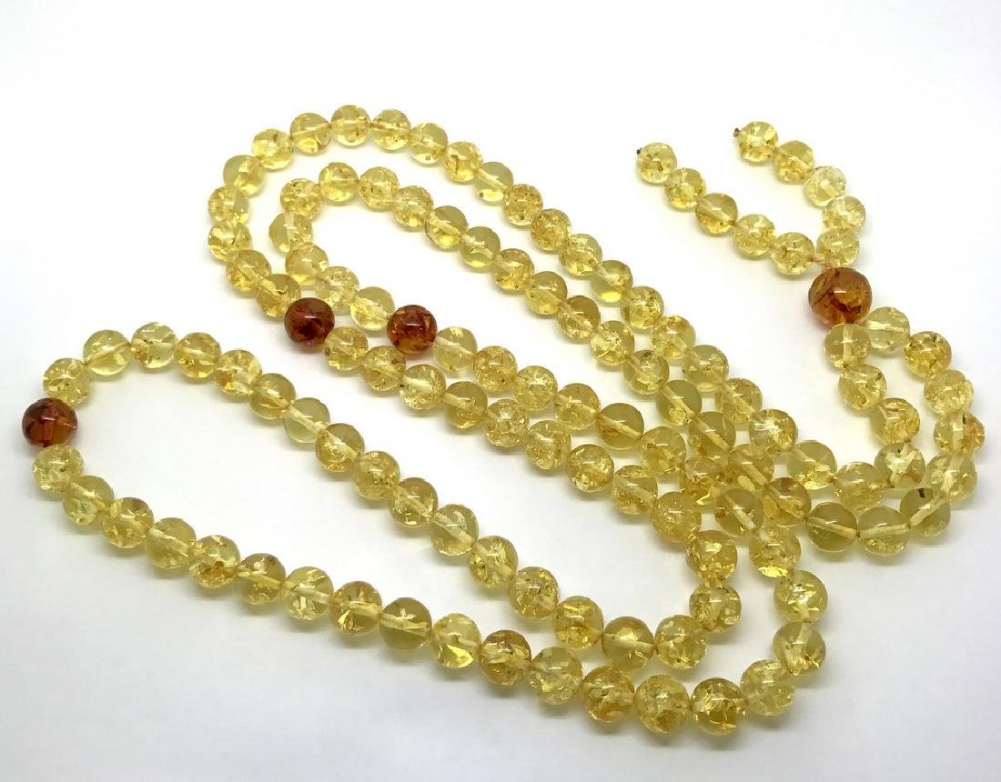 Japa mala luck necklace Baltic amber beads lemon&cognac - 6