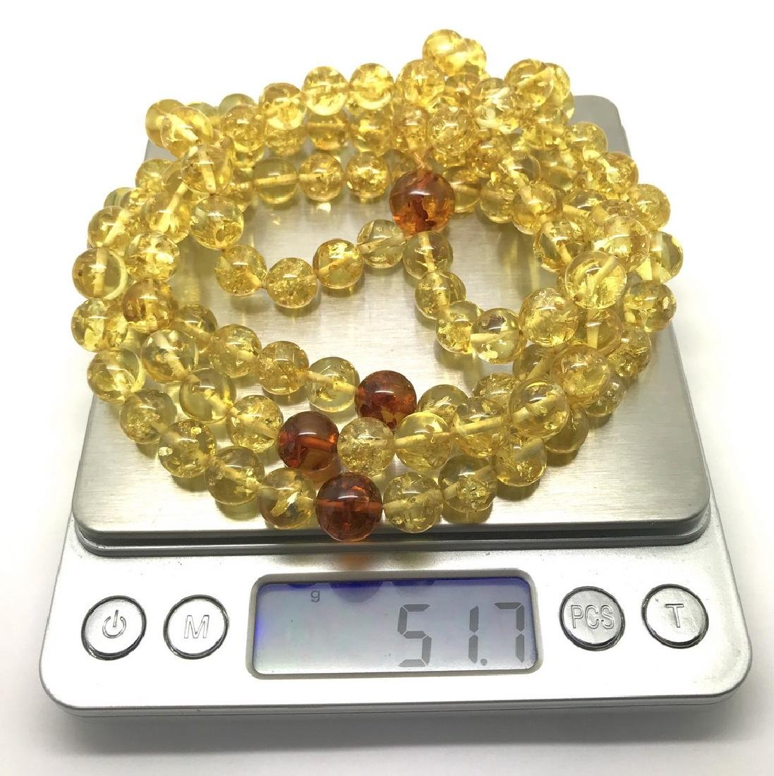 Japa mala luck necklace Baltic amber beads lemon&cognac - 7